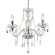 Traditional 3-Arm Chrome Chandelier with Clear Acrylic Decoration by Happy Homewares