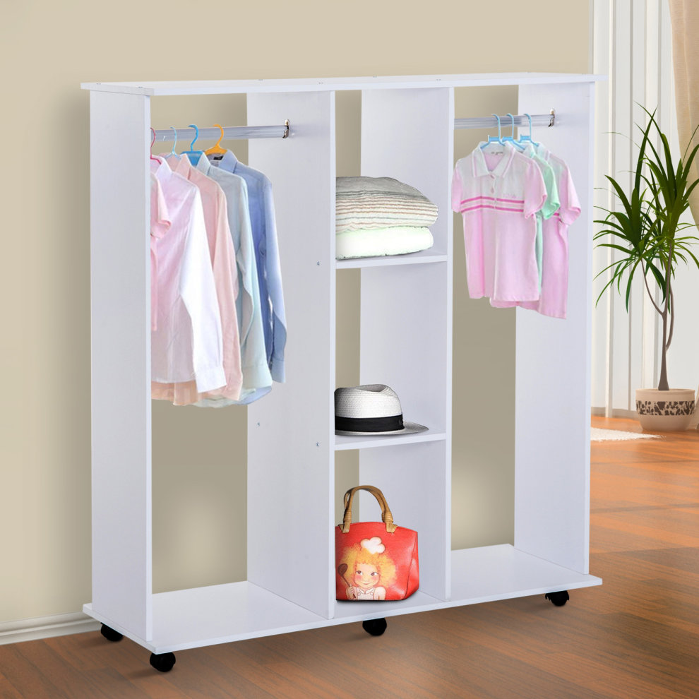 Homcom double mobile open wardrobe with clothes hanging - Bedroom furniture for hanging clothes ...