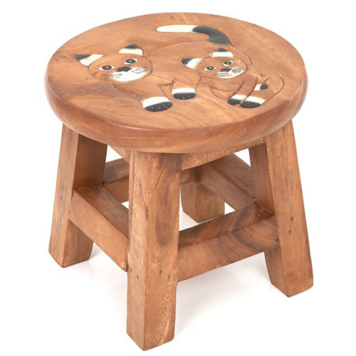 Childs Stool Double White Cat