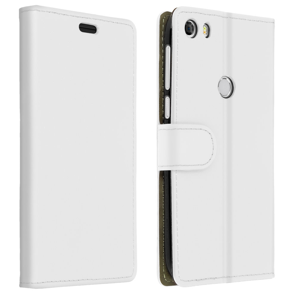 Slim Case, flip book cover, stand wallet case for Alcatel Idol 5 - White