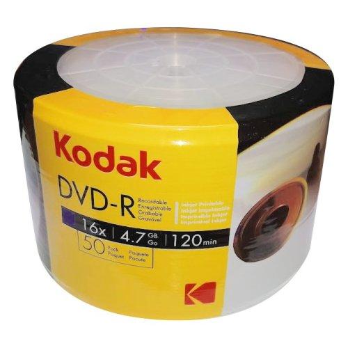 Kodak DVD-R 16x Blank Discs Full Face Inkjet Printable 50 pack 4.7GB 120mins High Speed