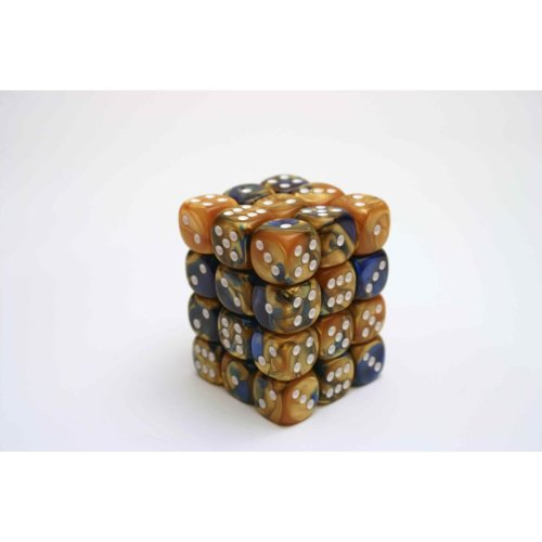 Chessex Gemini 12mm D6 Block - Blue-Gold/white