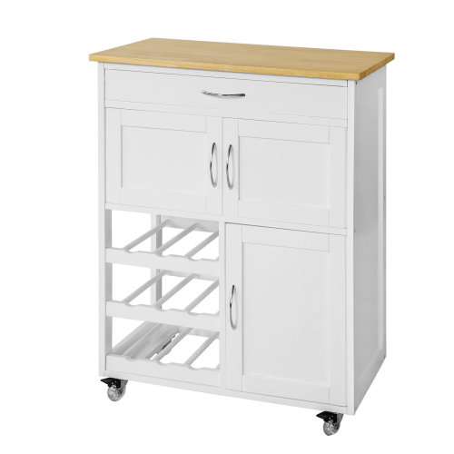 SoBuy® FKW45-WN, Kitchen Storage Trolley Cabinet with Rubber Wood Worktop
