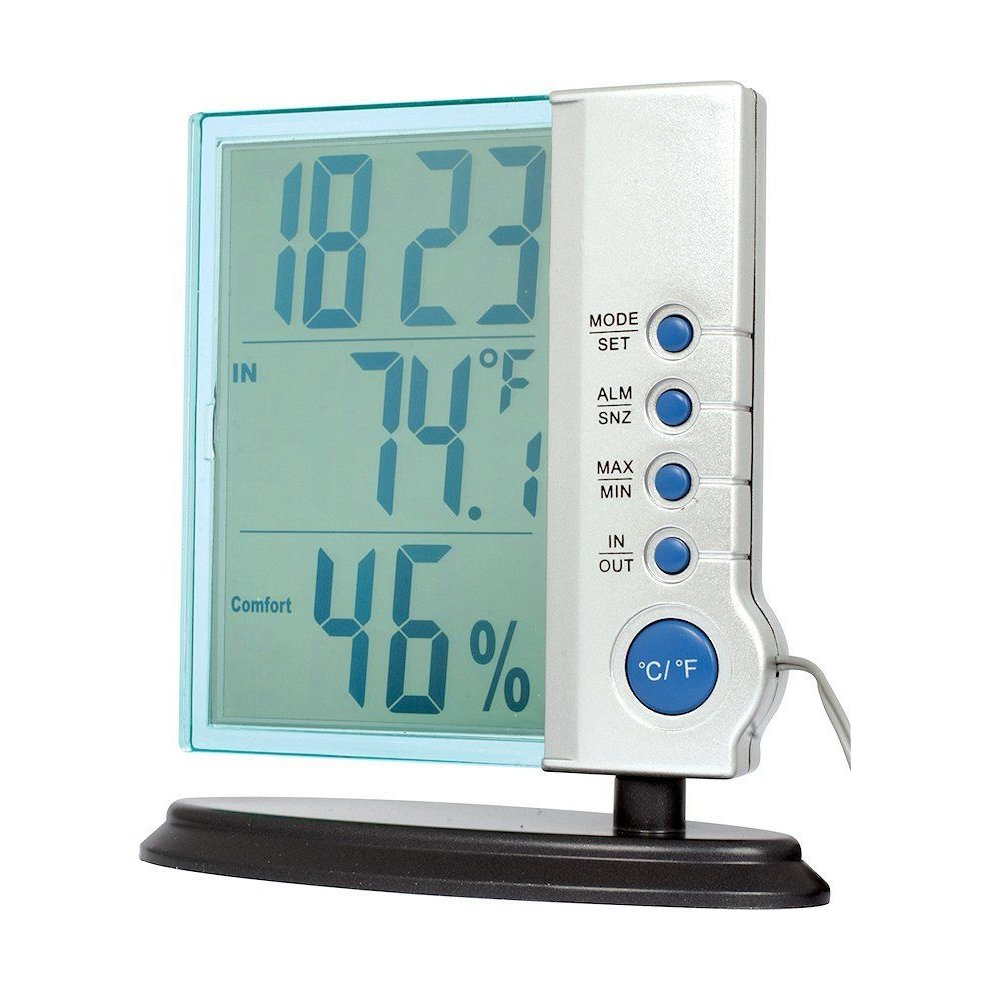 Desktop clock and weather station with temperature & humidity display