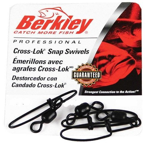 Berkley Cross-Lok Snap/Swivels Size 5 Tackle, 80 lb Breaking Strength, Black, Per 4