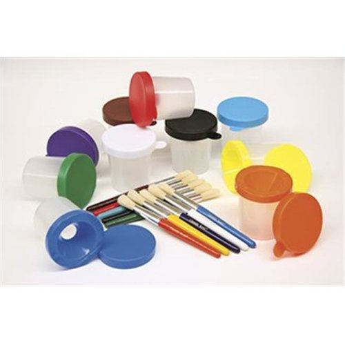 Chenille Kraft Company CK-5104 Paint Cups & Brushes Set 10 Cups W- 10 Color Coordinated Brushes