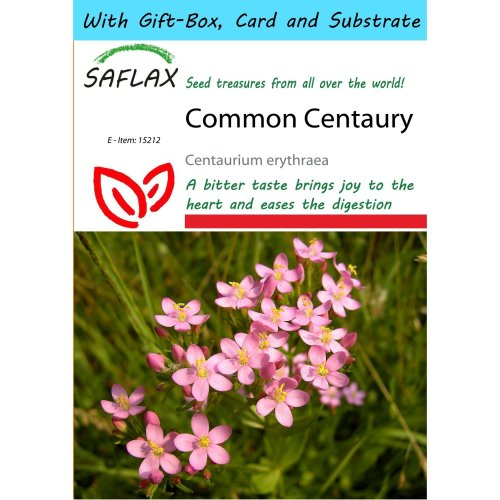 Saflax Gift Set - Common Centaury - Centaurium Erythraea - 250 Seeds - with Gift Box, Card, Label and Potting Substrate