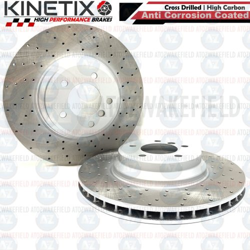 FOR BMW 335d E90 FRONT CROSS DRILLED KINETIX PERFORMANCE BRAKE DISCS PAIR 348mm