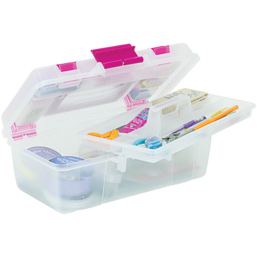 "Creative Options Tool Box Organizer-13""X7.5""X5"" Clear W/Magenta"