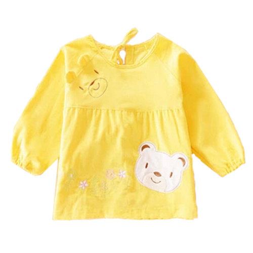 Lovely Girl Smocks Baby Feeding Clothes Baby Bibs Cute Bear ,Yellow