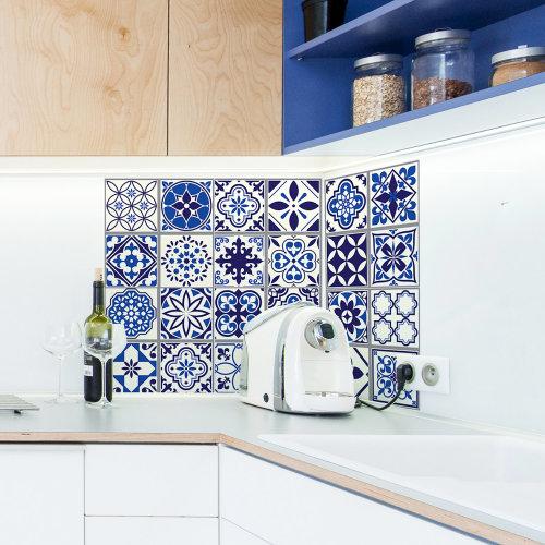 Walplus Tile Moroccan Blue Wall Sticker Decal (Size: 20m x 20cm @ 12pcs)