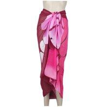 Floral Pattern Chiffon Wrap Dress Beach Bikini Women's Swimsuit Cover-up & Towel