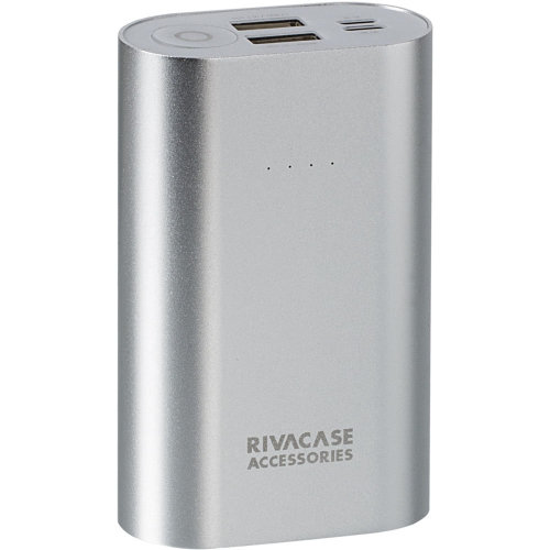 RIVACASE RivaPower Li-ion Aluminium Body Portable Rechargeable Battery 10000mAh Silver