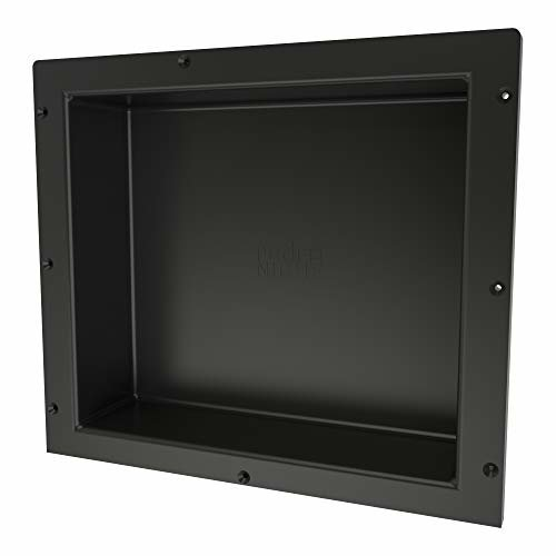 Redi Niche Single Recessed Shower Shelf Black One Inner Shelf 16 Inch Width x 14 Inch Height x 4 Inch Depth