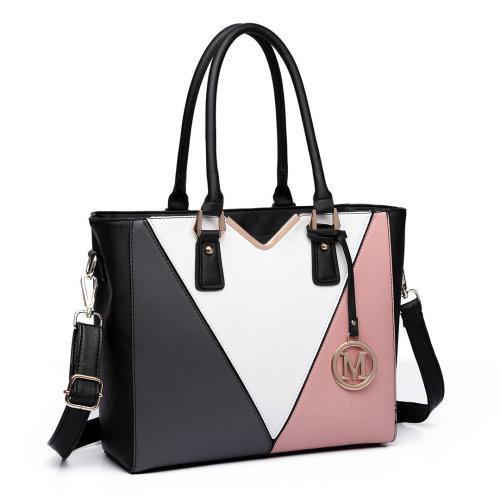 Miss Lulu Women Leather Handbag V Shape Shoulder Tote Bag
