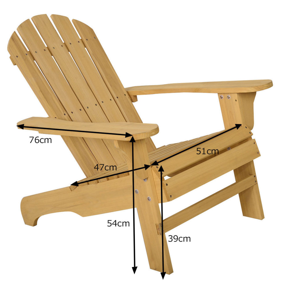 Natural Adirondack Chair Outdoor Fir Wood Seat On Onbuy