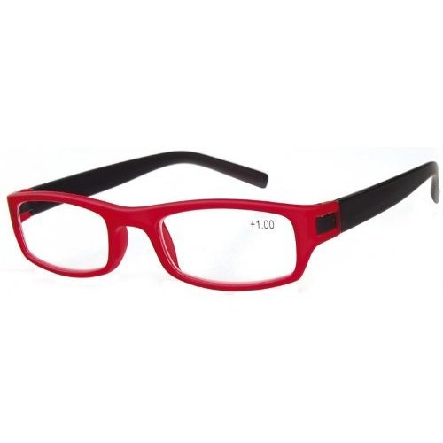 Sunoptic R59B Strength +2.00 Reading Glasses with Pouch Red Rim/Black Arms