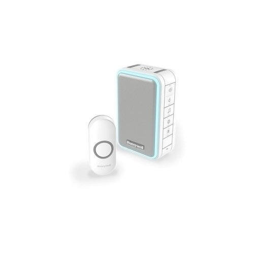 Wireless Portable Doorbell with Halo Light and Push Button – White