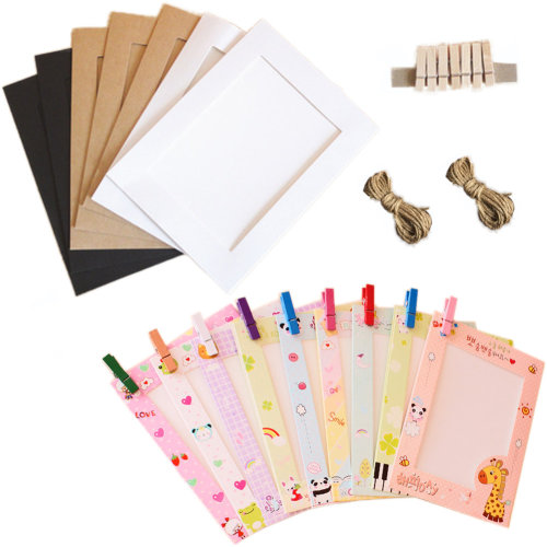 Wall Deco DIY Paper Photo Frame with Mini Clothespins - Fits 6 inches Pictures B