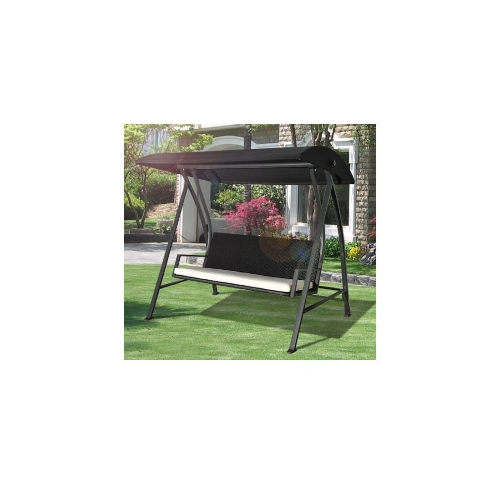 Outsunny 3 seater swing chair black rattan garden seat on onbuy - Garden furniture swing seats ...