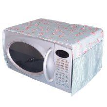 Pastoral Floral Print Microwave Oven Dustproof Cover Dust Cover Flowers Blue