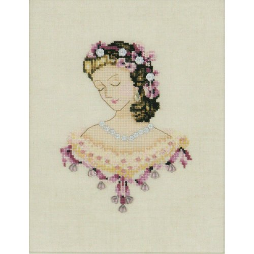 Portrait of Caroline in Pink Counted Cross Stitch Chart Pattern
