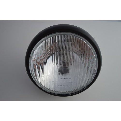 """7"""" Motorcycle Headlight Matte Black Steel Side Mount Universal Fit"""