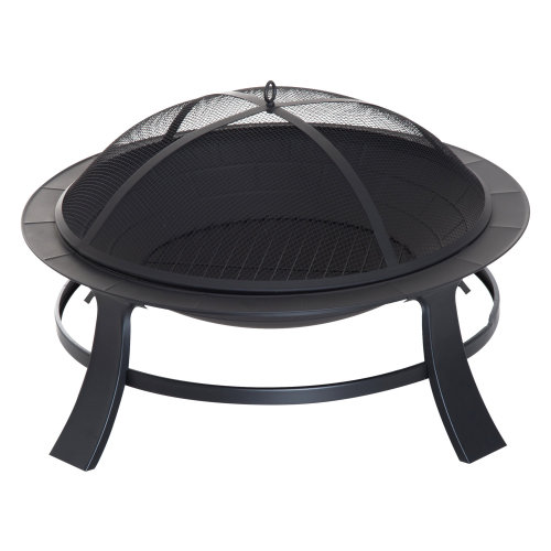 """Outsunny 30"""" Round Metal Fire Pit With Cover-Black"""