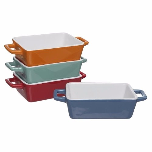 4x Set Ceramic Mini Stoneware Oven to Table Serving Baking Dish Tray Set Lasagne