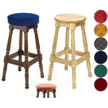 Tamara Wood Bar Stool - Padded / Unpadded Burgundy Fabric Piped Upholstery Dark Oak