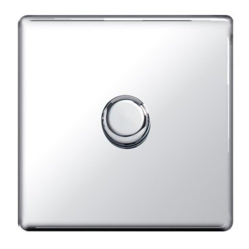 Screwless Flat-Plate - 1 Gang 400W Dimmer Switch - Polished Chrome