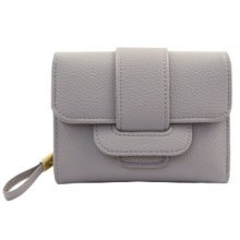 Multifunctional PU Leather Wallet Purse Pouch Cash Bag Card Holder, Grey
