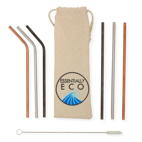 Reusable Straw Set with Cotton Cleaning Brush from Essentially Eco. 6 x Food Grade Eco Friendly Stainless Steel Drinking Straws (Rose Gold, Black &...