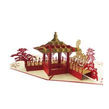 3D Chinese Garden Holiday Cards Invitation Cards Special Greeting Cards