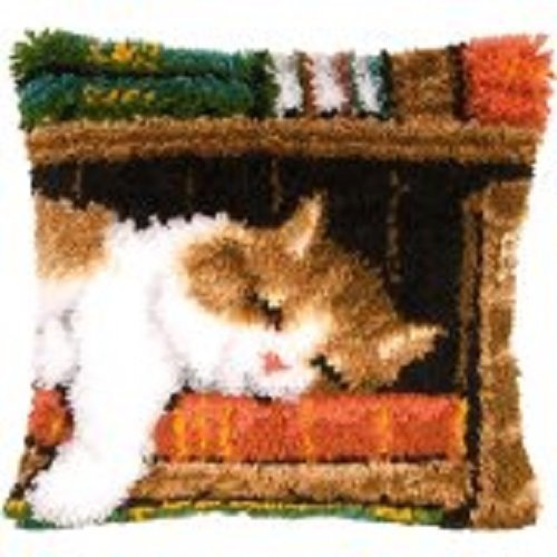 "Latch Hook Complete Cushion Cover Kit""Cat on a Bookshelf"" 43x43cm"