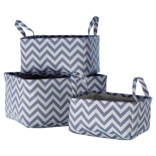 Grey Chevron Storage Baskets - Set Of 3