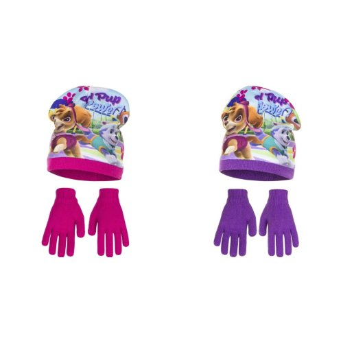 Paw Patrol Childrens Girls Girl Pup Power Winter Hat And Gloves Set