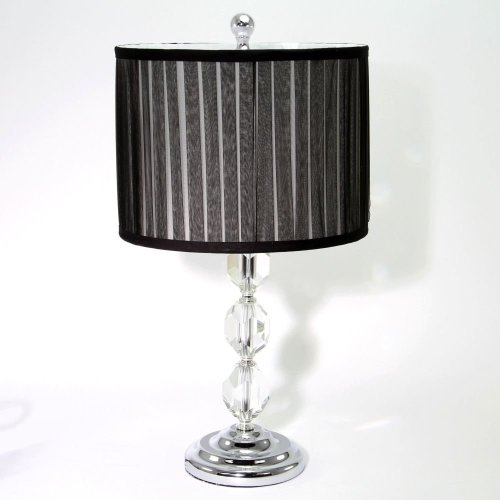 Silver and Crystal Lamp with Black Shade