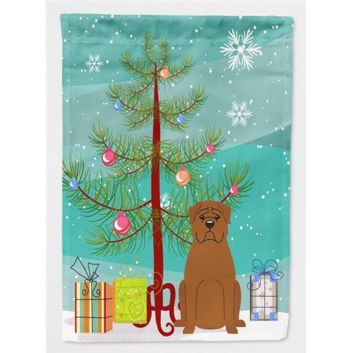 Carolines Treasures BB4198CHF Merry Christmas Tree Dogue De Bourdeaux Flag Canvas House Size