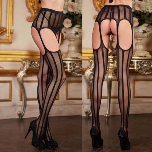Women Stocking Slim Sexy Striped Lace Top Garter Belt Thigh Pantyhose Pantys Mujer