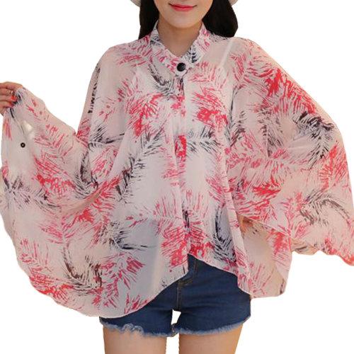 Sun Protective Clothing - Summer Chiffon Shawl Beach Coats Jackets-A5