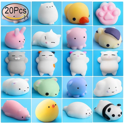 Mochi Squishy Stress Toys, Outee 20 Pcs Mochi Squishy Cat Animal Squishies