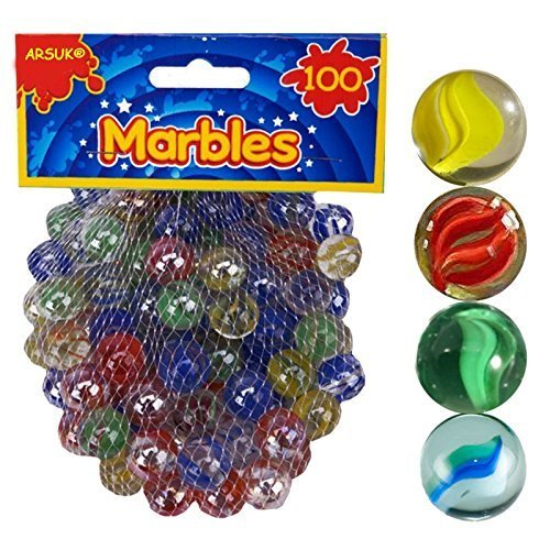 PMS 100PC HI-QUALITY SHARP COLOUR GLASS MARBLES IN NET BAG