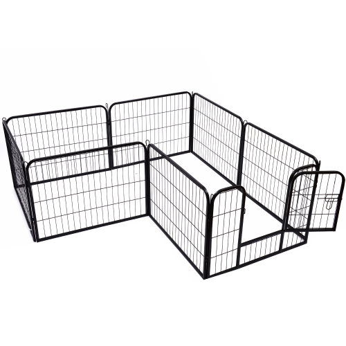 Pawhut Pet Cage Guinea Dog Pig Puppy Playpen Play House Steel Hutch Metel Black