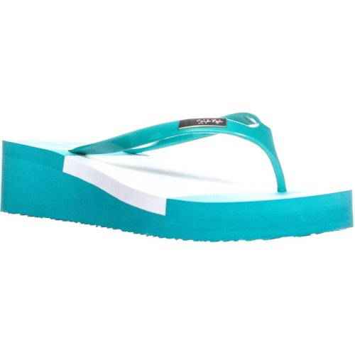 Calvin Klein Baden Eva Wedge Thong Sandals, Lagoon, 6 UK