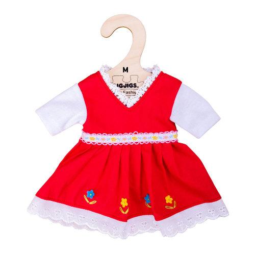Bigjigs Toys Red Dress with Floral Trim (Medium - 30cm)