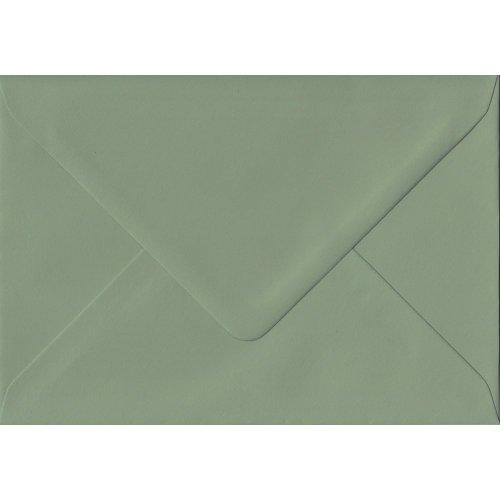 Vintage Green Gummed A5 Coloured Green Envelopes. 135gsm GF Smith Colorplan Paper. 152mm x 216mm. Banker Style Envelope.