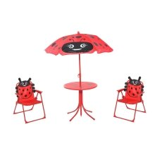 Homcom Kids Garden Table Chair with Umbrella Lady Bug