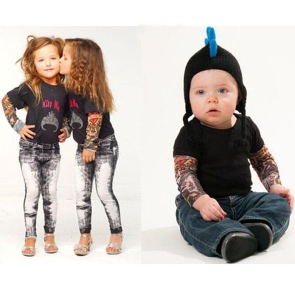 EZI 2 Pcs Fake Nylon Kid Temporary Fake Tattoo Sleeves Arm Stockings Goth Punk Cool Child # 7600522