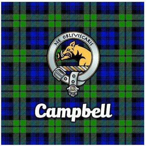 Scottish Campbell Tartan Glass Coaster Scotland Clan Cork Back Souvenir Gift Checked